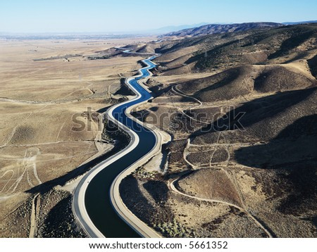 Aerial view of water carrying aqueduct in Outer Los Angeles, California.