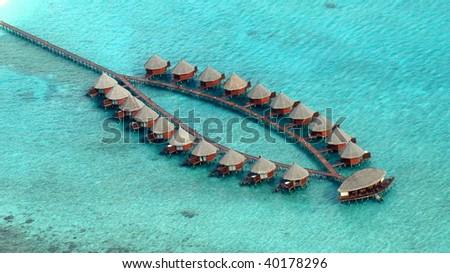 Aerial view of water villas, Maldives