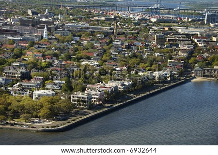 Aerial view of waterfront buildings in Charleston, South Carolina.
