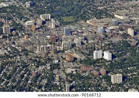 aerial view of Waterloo Victoria Park area in Kitchener-Waterloo, Ontario Canada