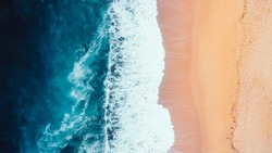 Aerial View of Waves and Beach Coastline of the Great Ocean Road Australia