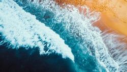 Aerial View of Waves and Beach Coastline of the Great Ocean Road Australia