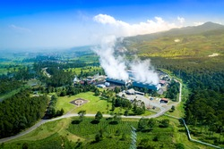 Aerial View of Wayang Windu Geothermal Power Plant, Bandung, Pangalengan West Java Indonesia