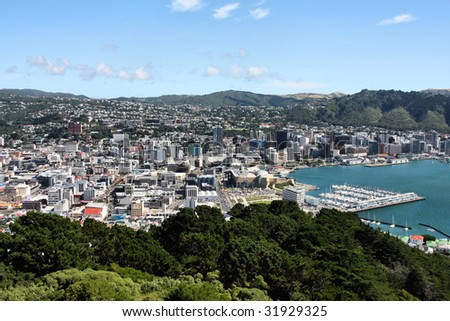 Aerial view of Wellington CBD. North Island, New Zealand.