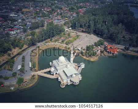 aerial view of white floating...