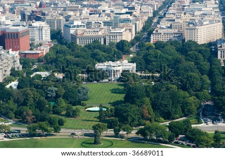 Aerial View of White House in Washington DC