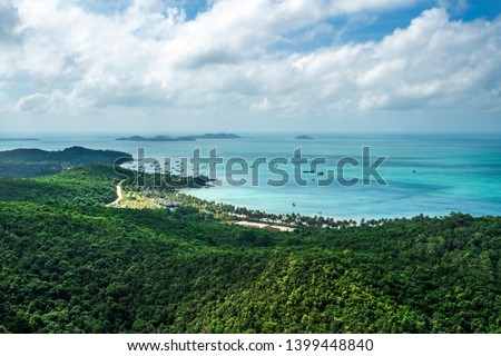 Aerial view of white sand beach and boat on the blue lagoon aqua sea. Royalty high quality free stock image of Gam Ghi island in Phu Quoc, Kien Giang, Vietnam