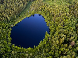 Aerial view of wild forest lake in Lithuania