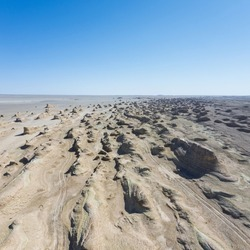 aerial view of wind erosion physiognomy landscape, yardang landform in tsaidam basin, qinghai province, China.