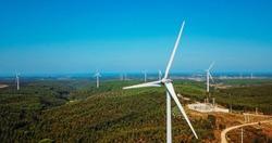 Aerial View Of Wind Turbine Park In Portugal Generating Clean Energy