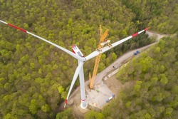 Aerial view of wind turbine under construction