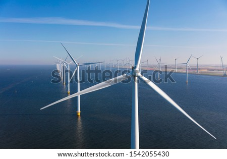 Aerial view of wind turbines at sea, North Holland, Netherlands Stock photo ©
