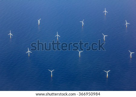 Aerial View of Wind turbines in the Sea