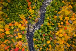 Aerial view of Winding River Through Autumn Trees with Fall Colors in Adirondacks, New York, New England