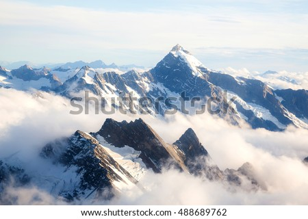 Aerial view of Winter landscape Mountain Cook New Zealand #488689762