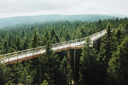 Aerial view of wooden bridge and observation deck for walking through treetops. Pohorje Treetop Walk, Rogla. Slovenia, Europe.