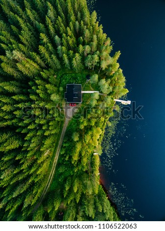 Aerial view of wooden cottage in green pine forest by the blue lake in rural summer Finland