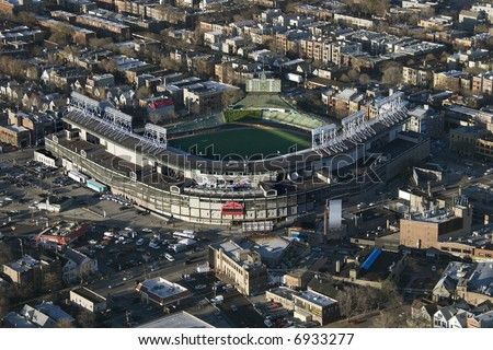 Aerial view of Wrigley Field in Chicago, Illinois.