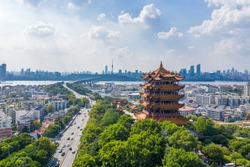 Aerial view of  Wuhan city .Panoramic skyline and buildings beside yangtze river.4 Chinese letters on tower is