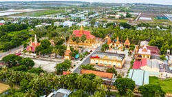 Aerial view of Xiem Can pagoda, Bac Lieu province, Vietnam. It is an ancient Khmer temple attracts tourists in Bac Lieu. Travel and religion concept.