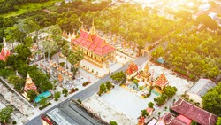 Aerial view of Xiem Can pagoda, Bac Lieu province, Vietnam. It is an ancient Khmer temple attracts tourists in Bac Lieu. Travel and religious concept.