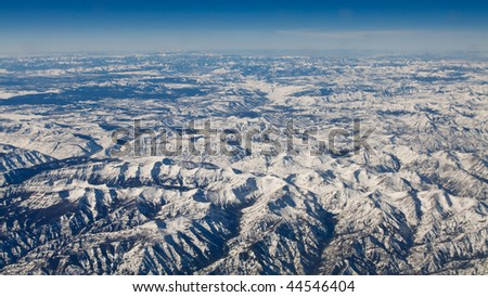 Aerial View of Yellowstone National Park, Wyoming, USA in Winter (44.40 N, 109.53 W)