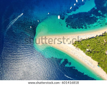 Aerial view of Zlatni rat beach in Bol, Island Brac, Croatia #601416818