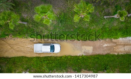 Aerial view  off-road car vehicle, car 4 wheel drives off-road. #1417304987