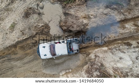 Aerial view  off-road car vehicle, car 4 wheel drives off-road. #1419684050