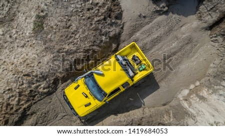 Aerial view  off-road car vehicle, car 4 wheel drives off-road. #1419684053