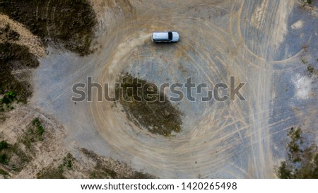 Aerial view  off-road car vehicle, car 4 wheel drives off-road. #1420265498
