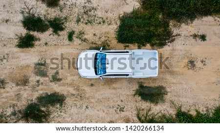 Aerial view  off-road car vehicle, car 4 wheel drives off-road. #1420266134