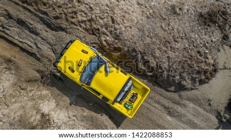Aerial view  off-road car vehicle, car 4 wheel drives off-road. #1422088853