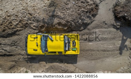Aerial view  off-road car vehicle, car 4 wheel drives off-road. #1422088856