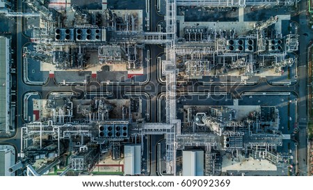 Aerial view oil refinery, refinery plant, refinery factory.