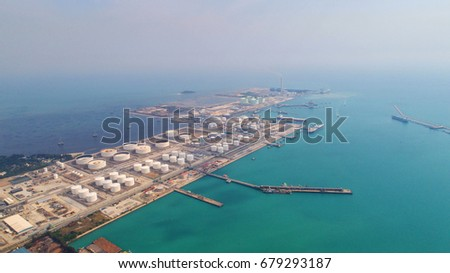 Aerial view Oil refinery .The factory is located in the middle of nature and no emissions. The area around the air pure. #679293187