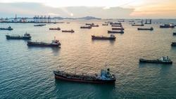 Aerial view oil tanker cargo ship.