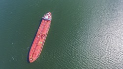 Aerial view oil tanker from above