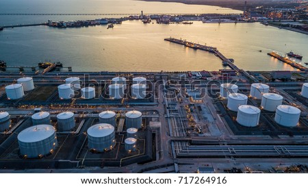 Aerial view oil terminal is industrial facility for storage of oil and petrochemical products ready for transport to further storage facilities