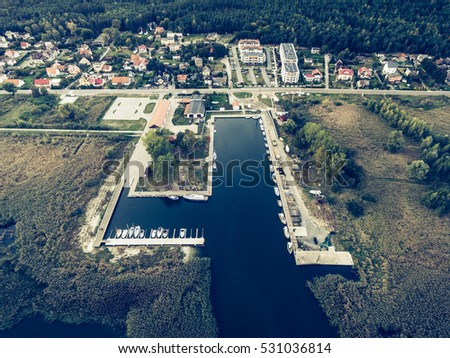Aerial view on a harbour in K??ty Rybackie, Poland. Retro style. Stock fotó ©