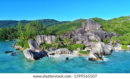 aerial view on anse source d'argent on la digue island in Seychelles  Photo stock ©