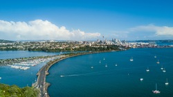 Aerial view on Auckland city center over Waitemata Harbour. New Zealand