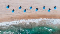Aerial View on Beach coastline and Atlantic Ocean in Weekend day in Delray Beach, Florida. Drone Beach Landscape.