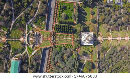 Aerial View on beautiful Bahai garden and the temple in Haifa, Israel.
