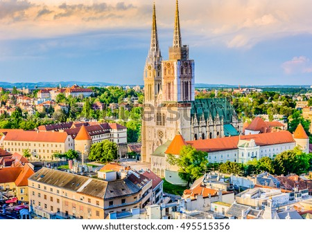 Aerial view on cathedral in Zagreb city, capital town of Croatia, european landmarks. / Zagreb cathedral aerial view. / Selective focus.