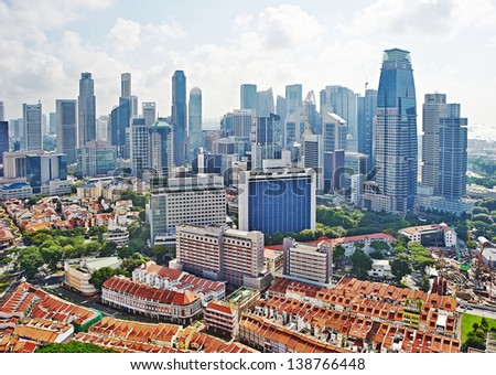 Aerial view on Chinatown and business center of Singapore