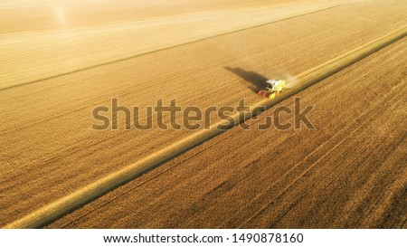Aerial view on combine harvester gathers the wheat at sunset. Harvesting grain field, crop season. View on harvester in the partly harvested field, diagonal composition.Summer, Europe