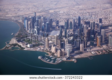 Aerial view on Doha - capital city of Qatar