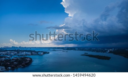 Aerial view on dramatic clouds and dramatic sky before thunderstorm  #1459494620