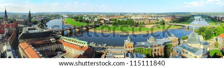 Aerial view on Dresden from Frauenkirche church. Germany